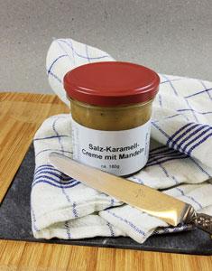 Salz Karamell Creme  mit Mandeln